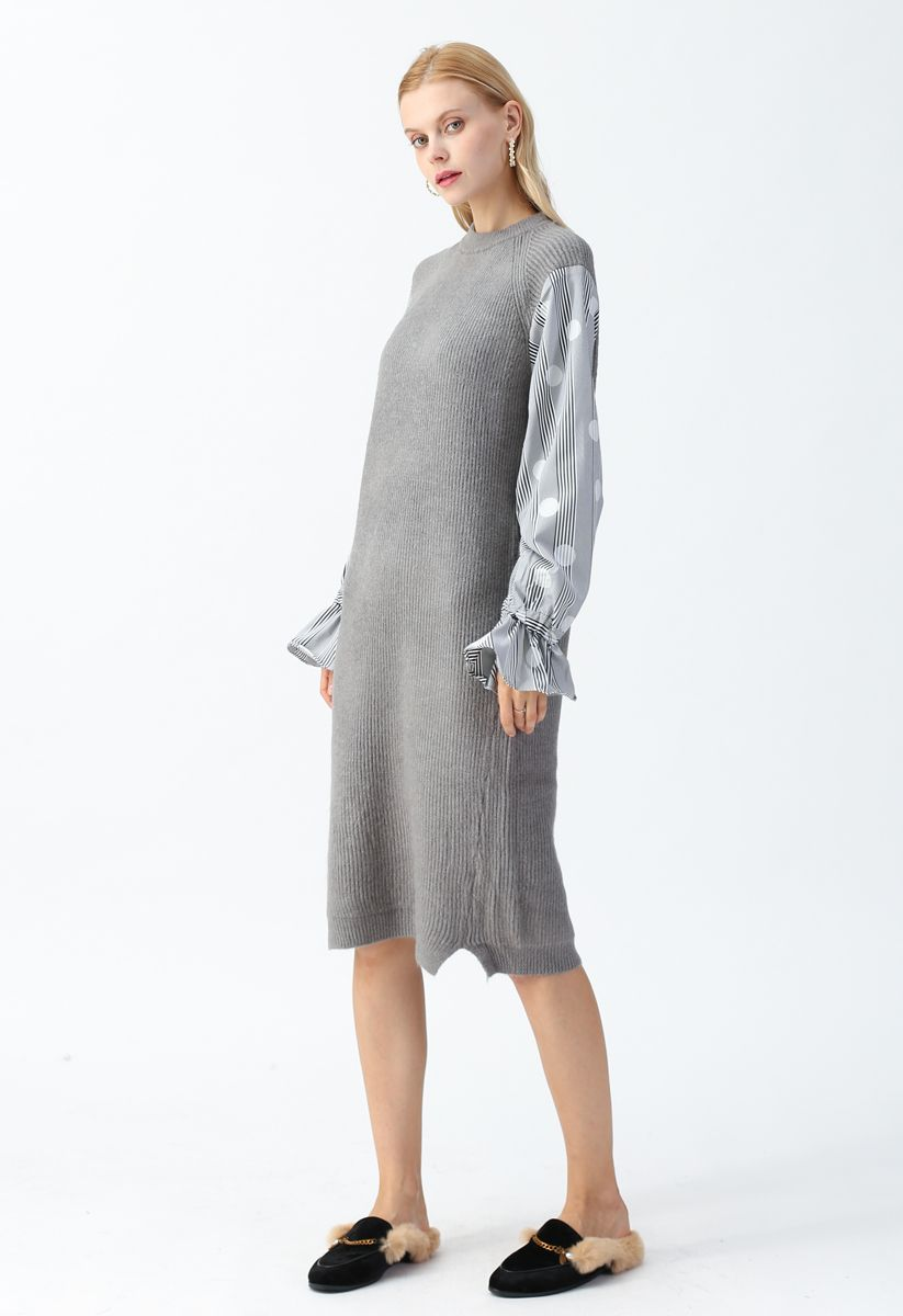 Spliced Sleeves Ribbed Knit Shift Dress in Grey