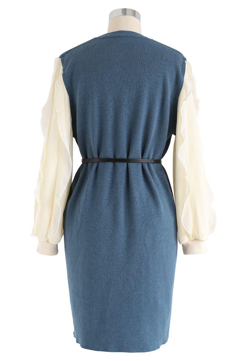 Belted Ruffle Sleeves Spliced Knit Shift Dress in Blue