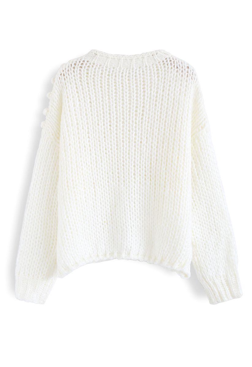 Hand-Knit Pom-Pom Trim Fluffy Sweater in White