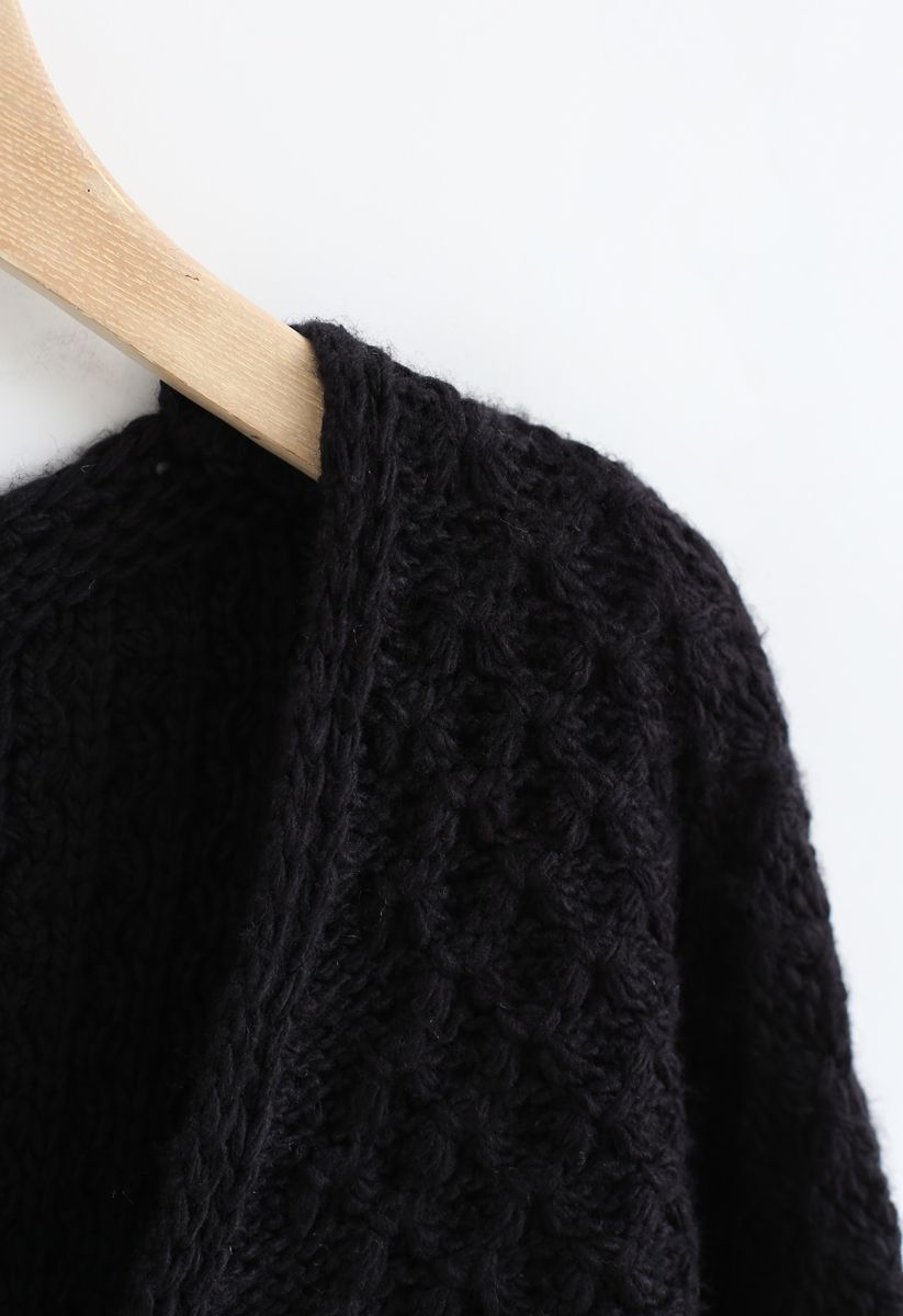 Hollow Out V-Neck Oversized Knit Sweater in Black