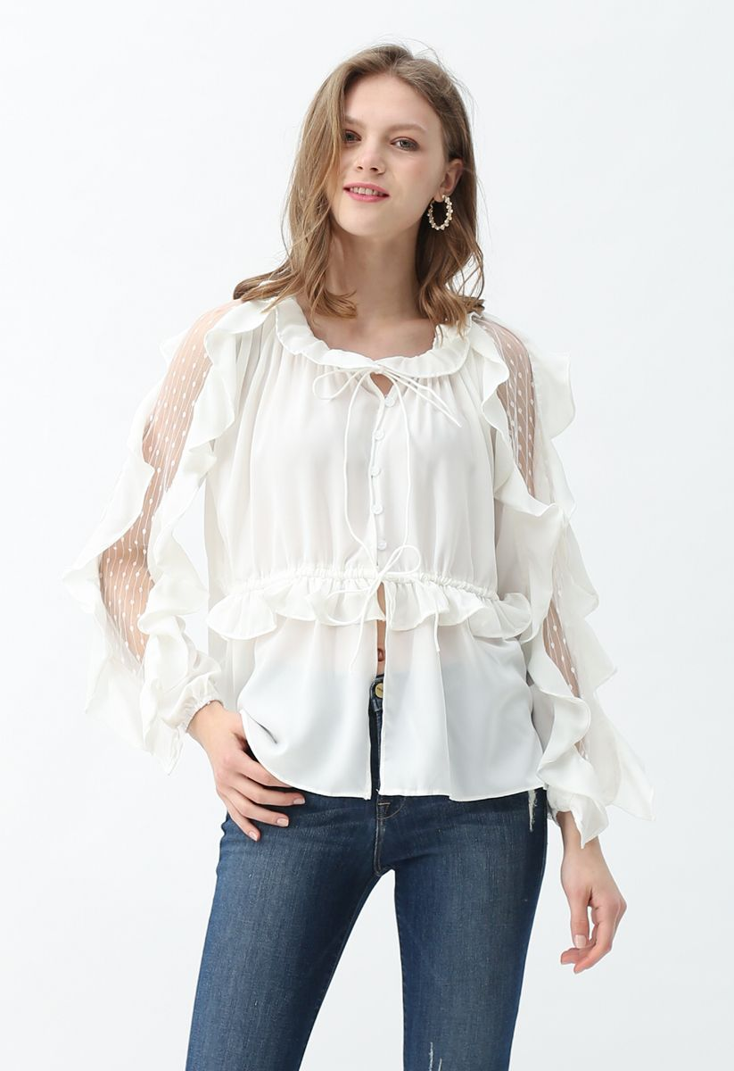 Drawstring Lace Inserted Ruffle Sleeves Top
