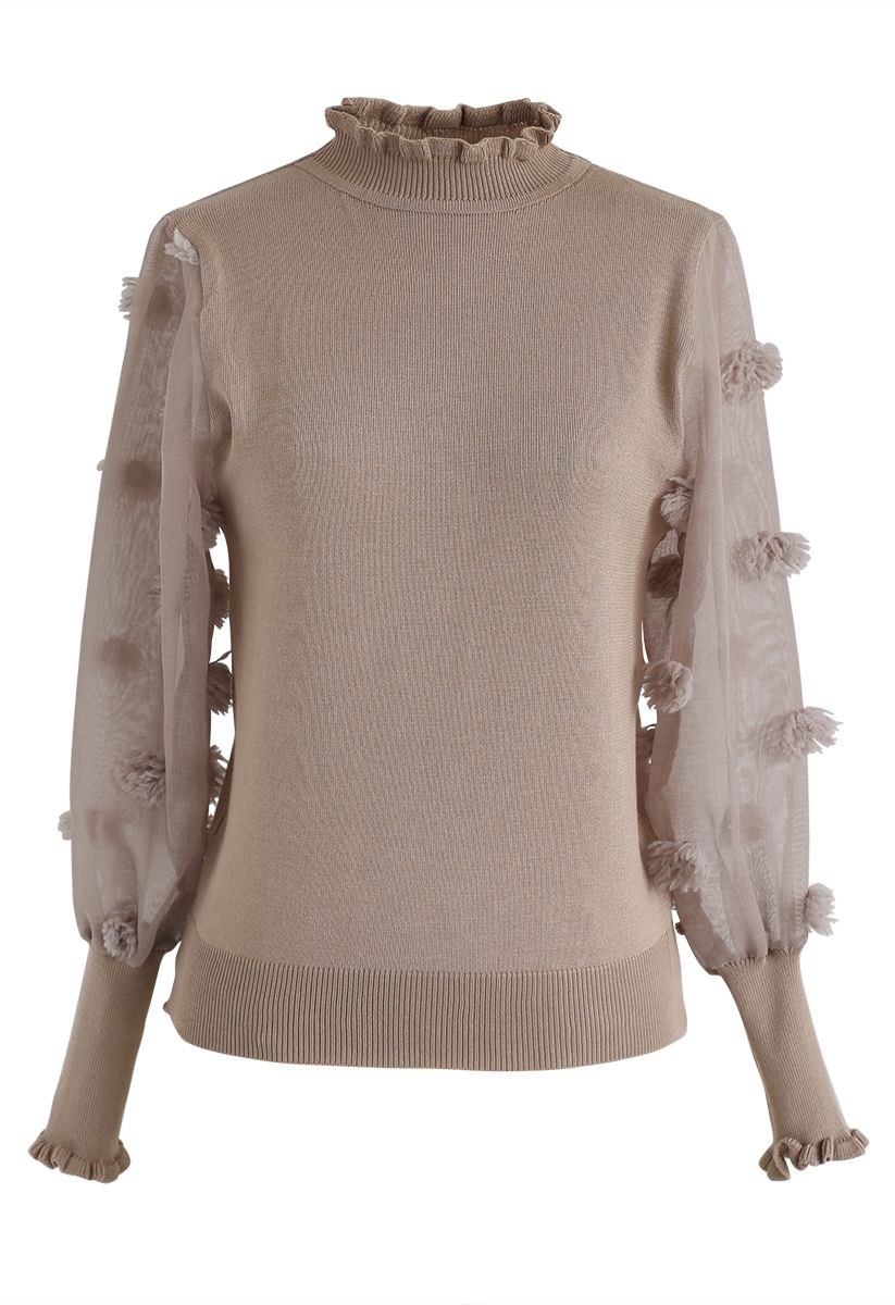 Cotton Candy Sheer Sleeves Knit Top in Taupe
