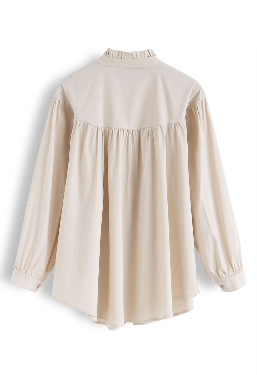 Ruffle Collar Button Down Sleeves Shirt in Cream