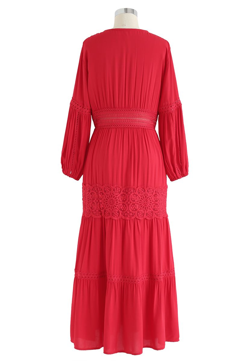 Button Down Crochet Embroidered Boho Maxi Dress in Red