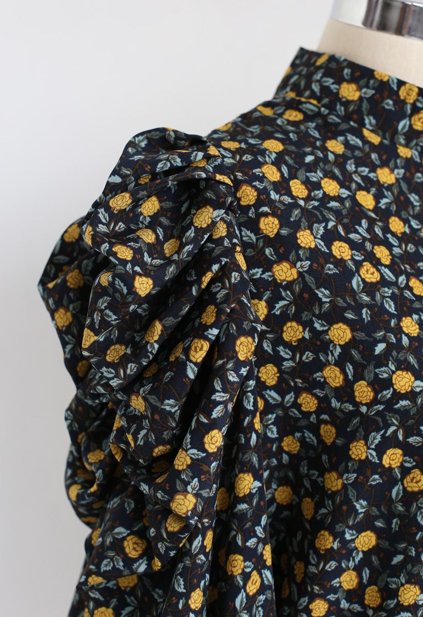 Yellow Florets Puff Sleeves Smock Top