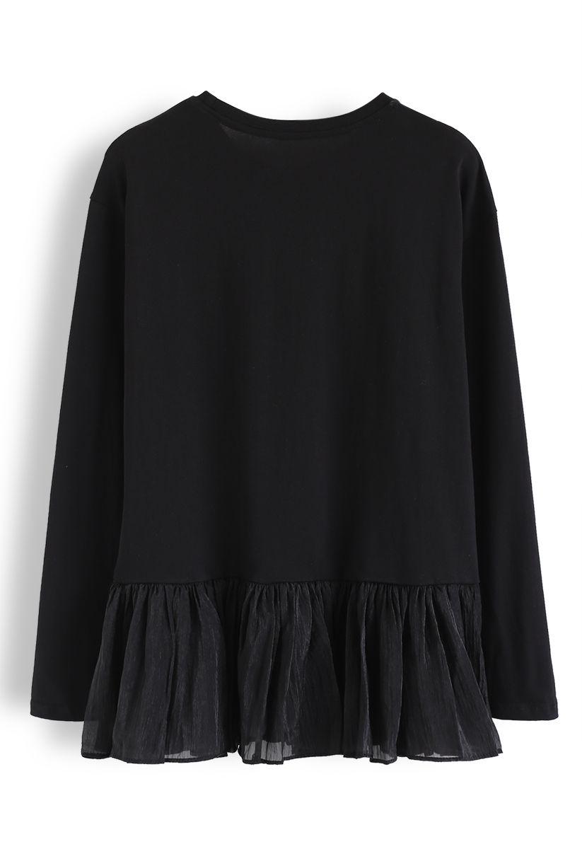 Mesh Frill Hem Spliced Sweatshirt in Black