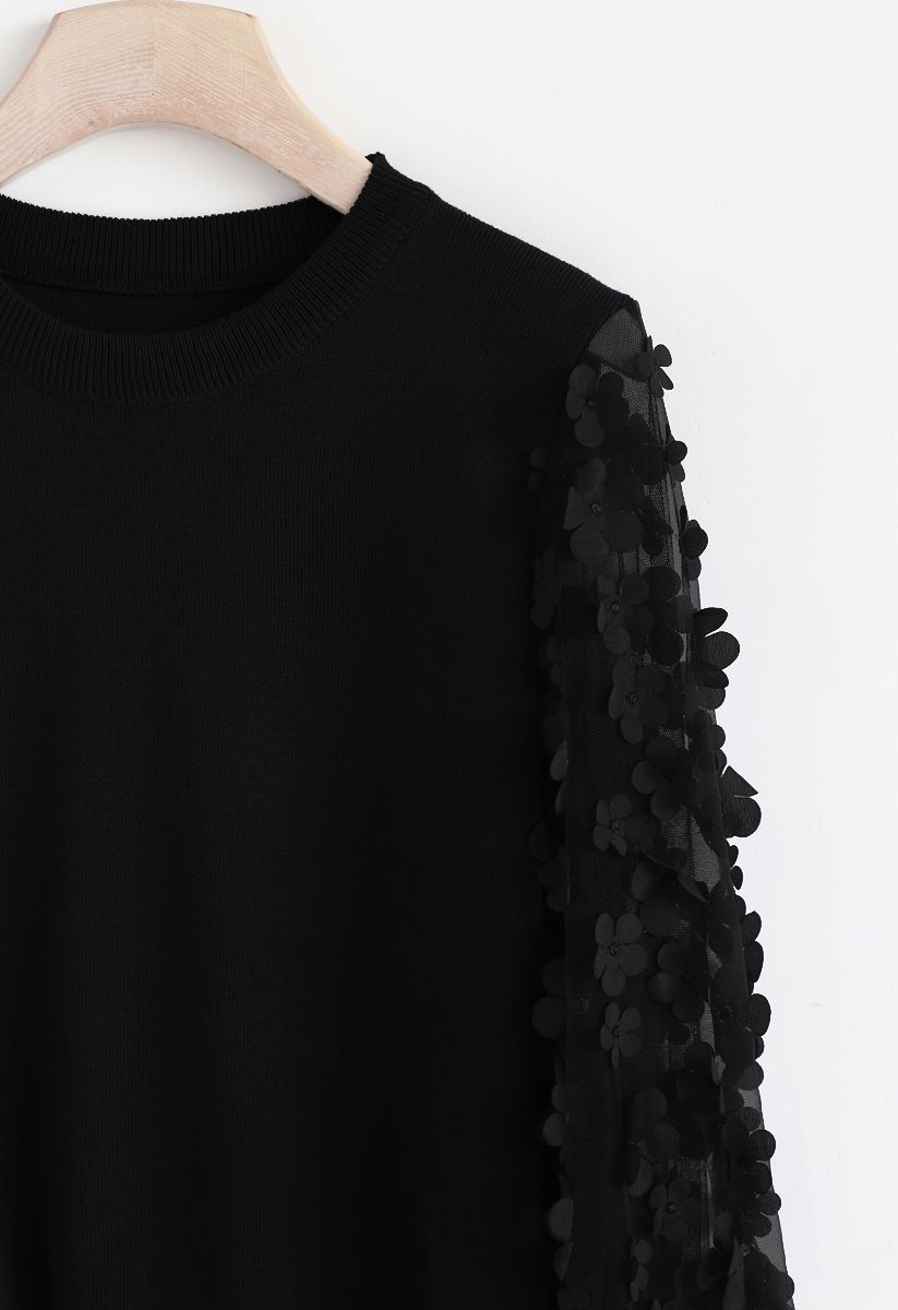 3D Flower Mesh Sleeves Knit Top in Black