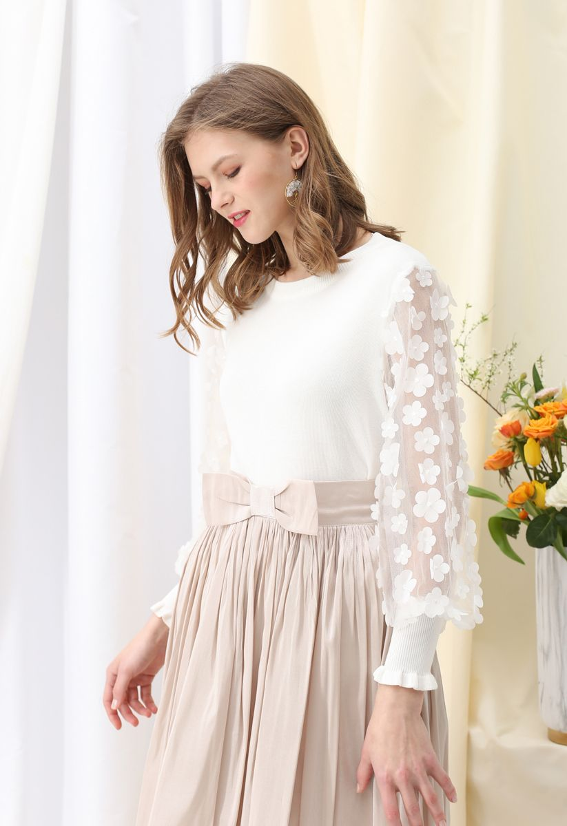3D Flower Mesh Sleeves Knit Top in White