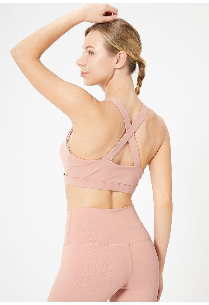 Soutien-gorge de sport à faible impact croisé avec joint torique en rose