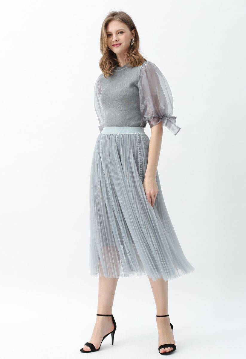 Organza Bubble Sleeves Knit Top in Grey
