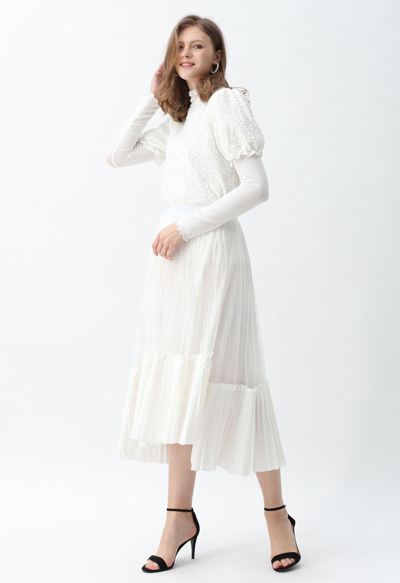 Mesh Asymmetric Hem Pleated Midi Skirt in White