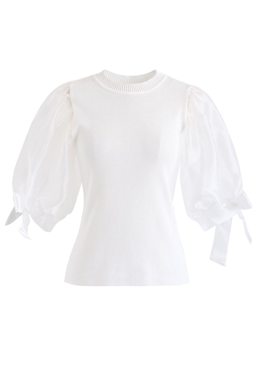 Organza Bubble Sleeves Knit Top in White