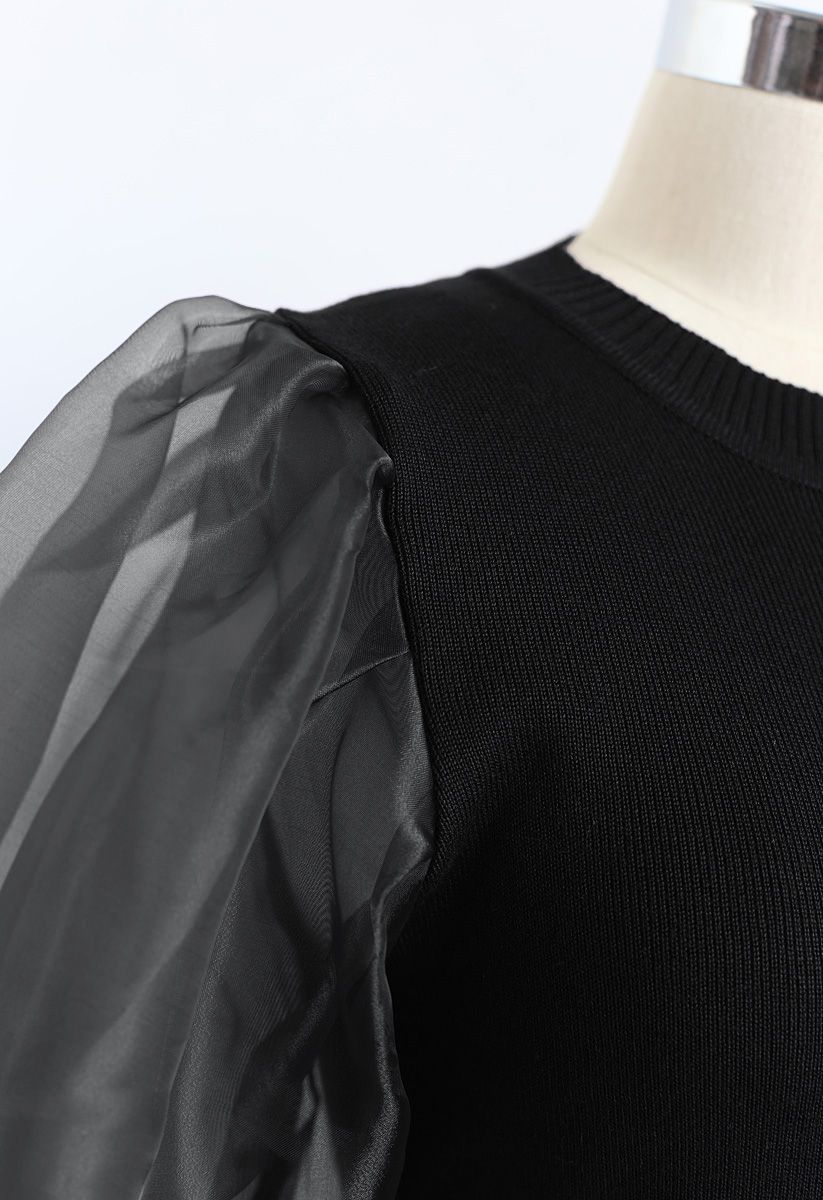 Organza Bubble Sleeves Knit Top in Black