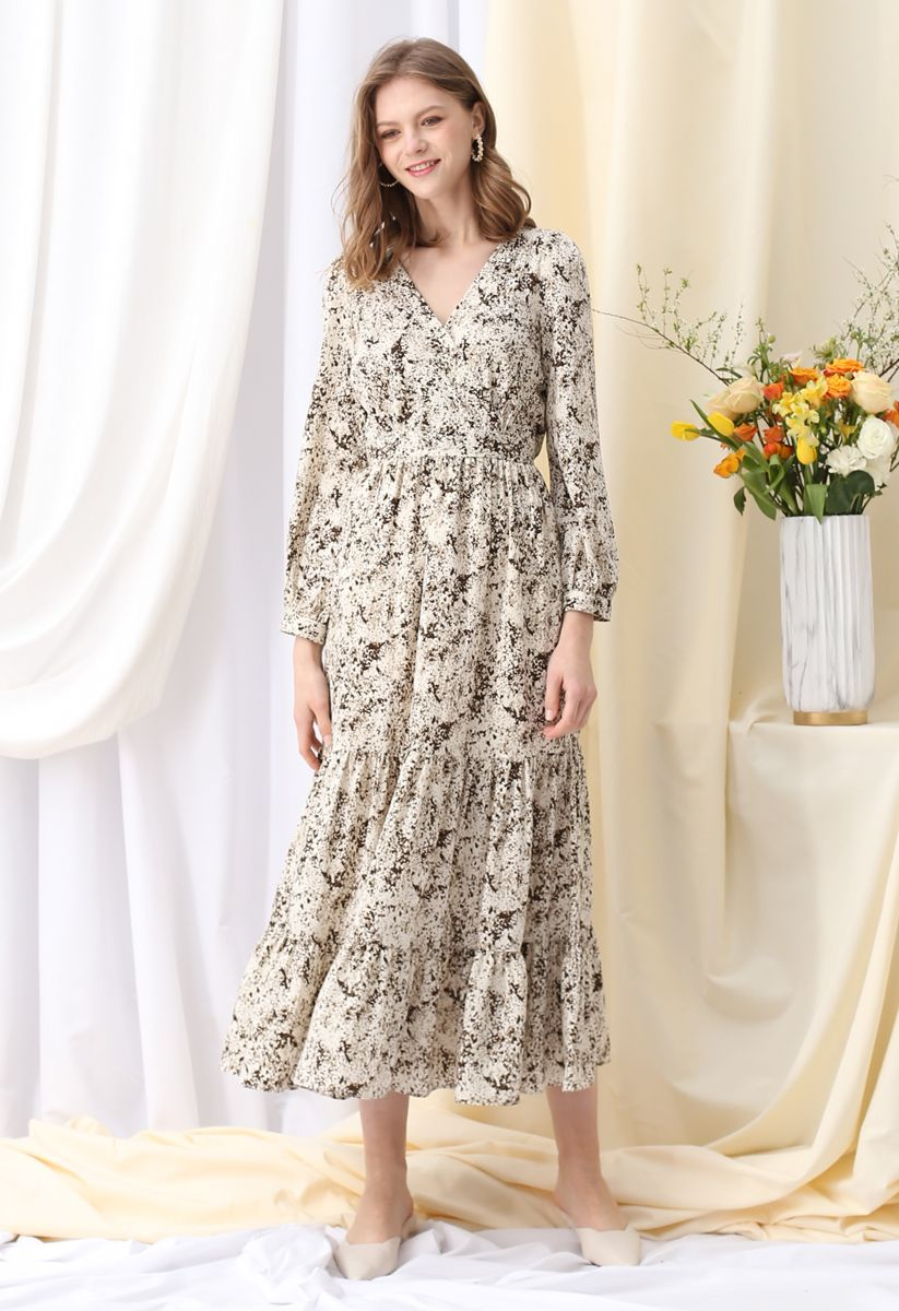 Watercolor Spots Printed Wrap Maxi Dress in Ivory