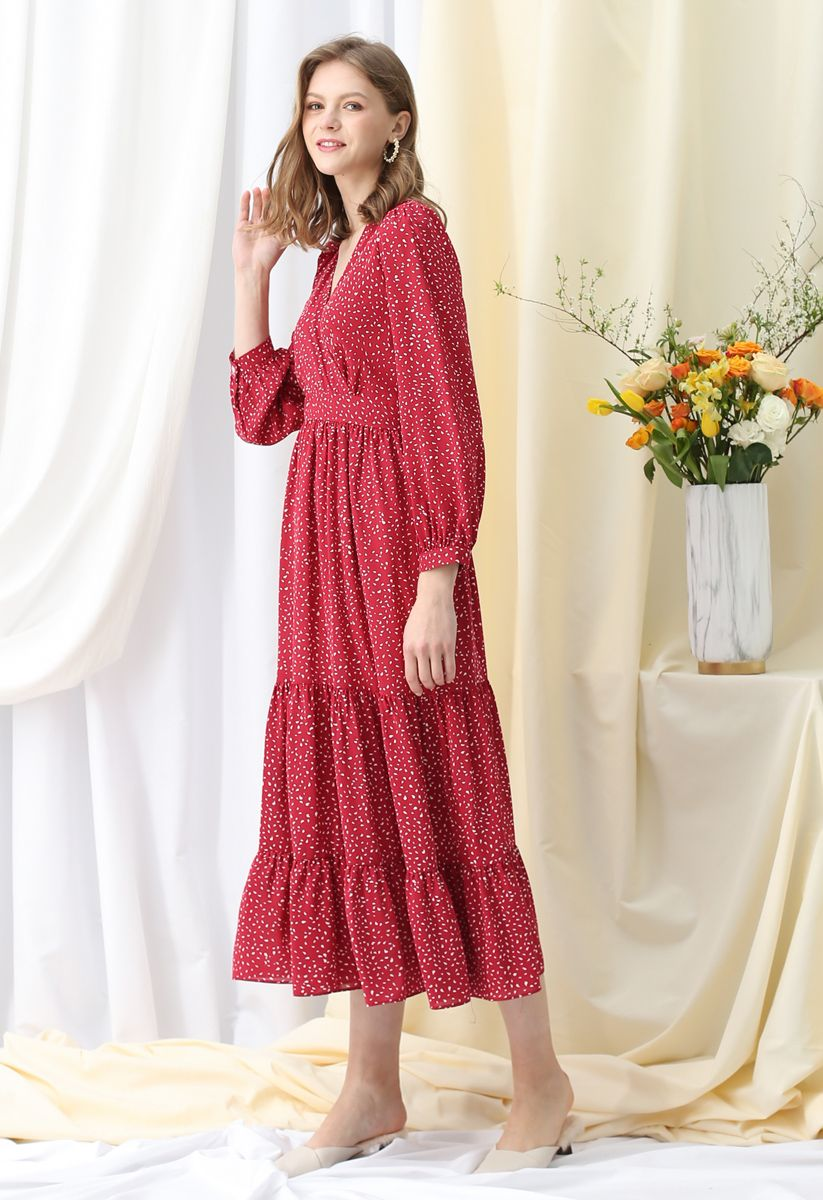 Spots Printed Ruffle Wrap Maxi Dress in Red