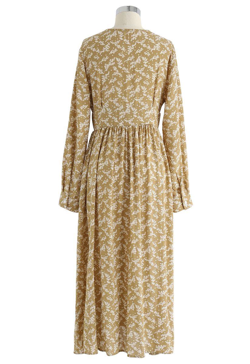 Floret Aplenty Chiffon Dress in Mustard
