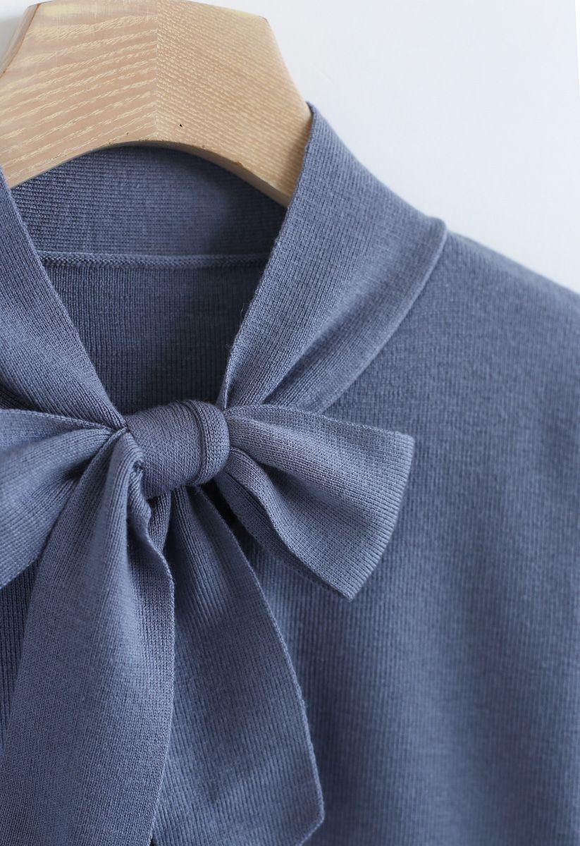 Haut en tricot à manches à nœud dans le bleu poussiéreux