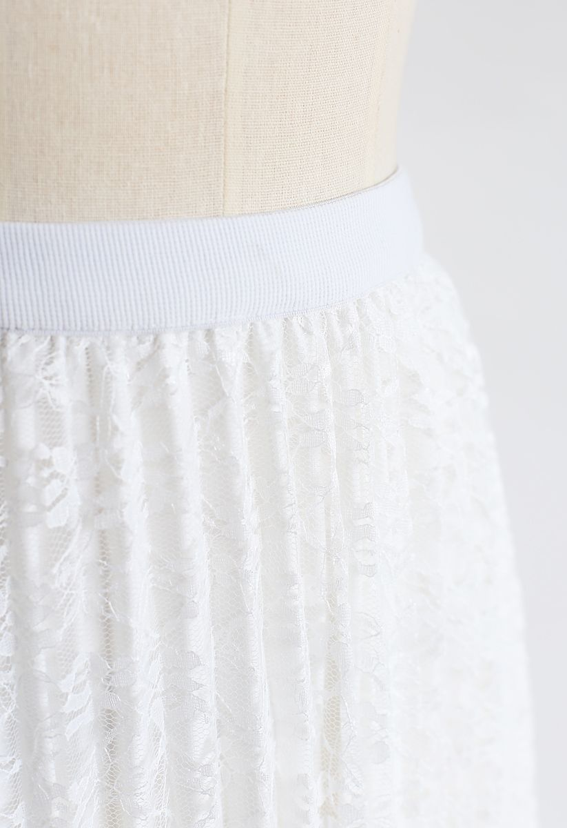 Jupe midi plissée en maille à fleurs réversible en blanc