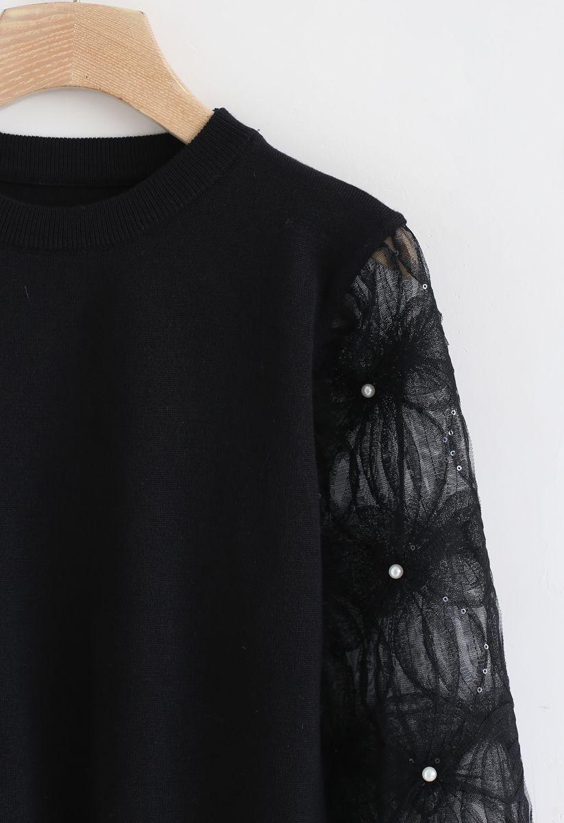 Haut en maille à manches en filet et perles et sequins en noir