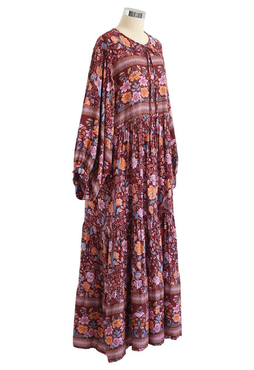 Boho - Robe longue fluide à manches bouffantes et fleurs bouffantes - Caramel