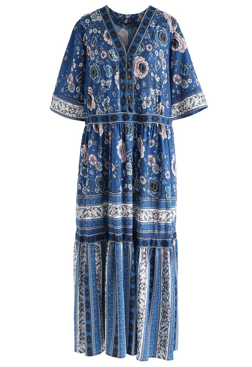 Boho Blossom - Robe longue boutonnée en bleu