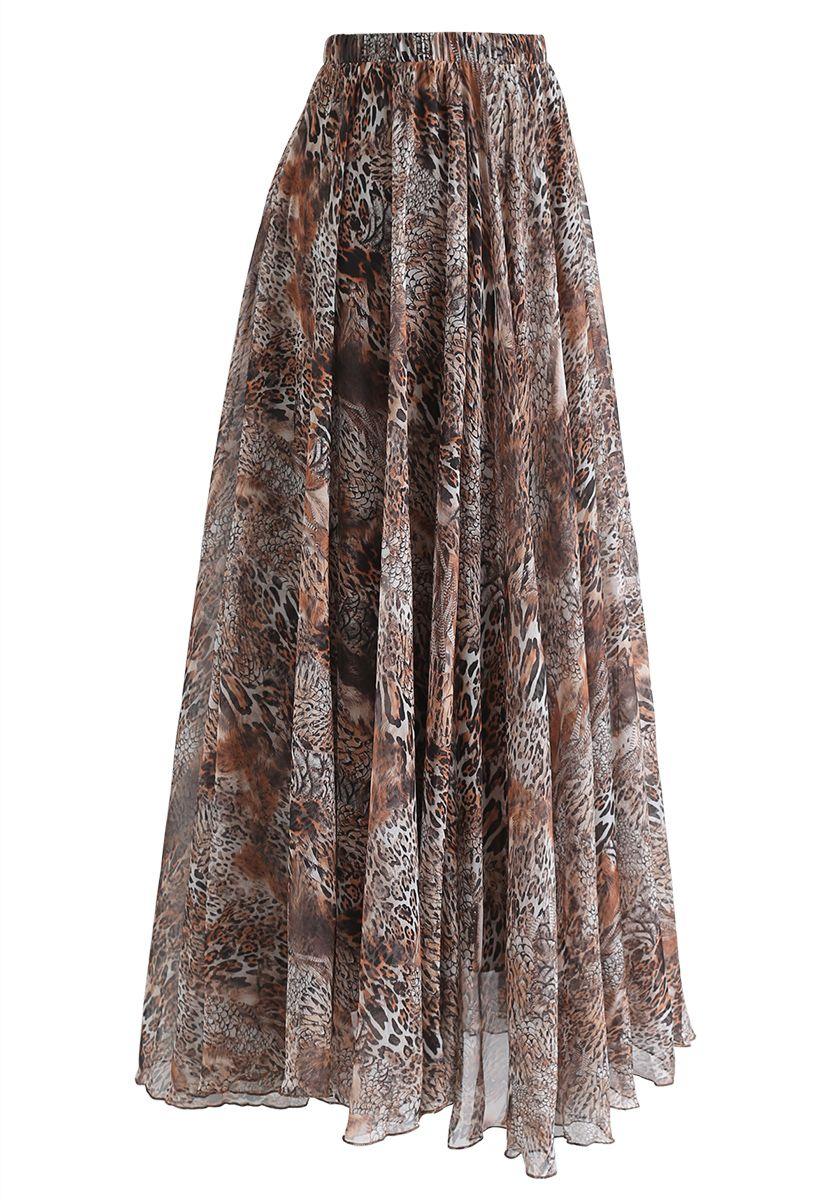 Jupe longue imprimée léopard marron