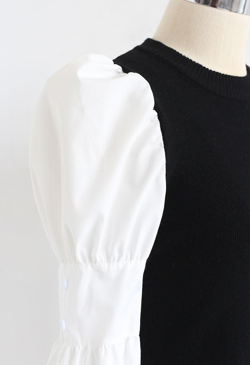 Haut en tricot côtelé à manches bouffantes et boutons