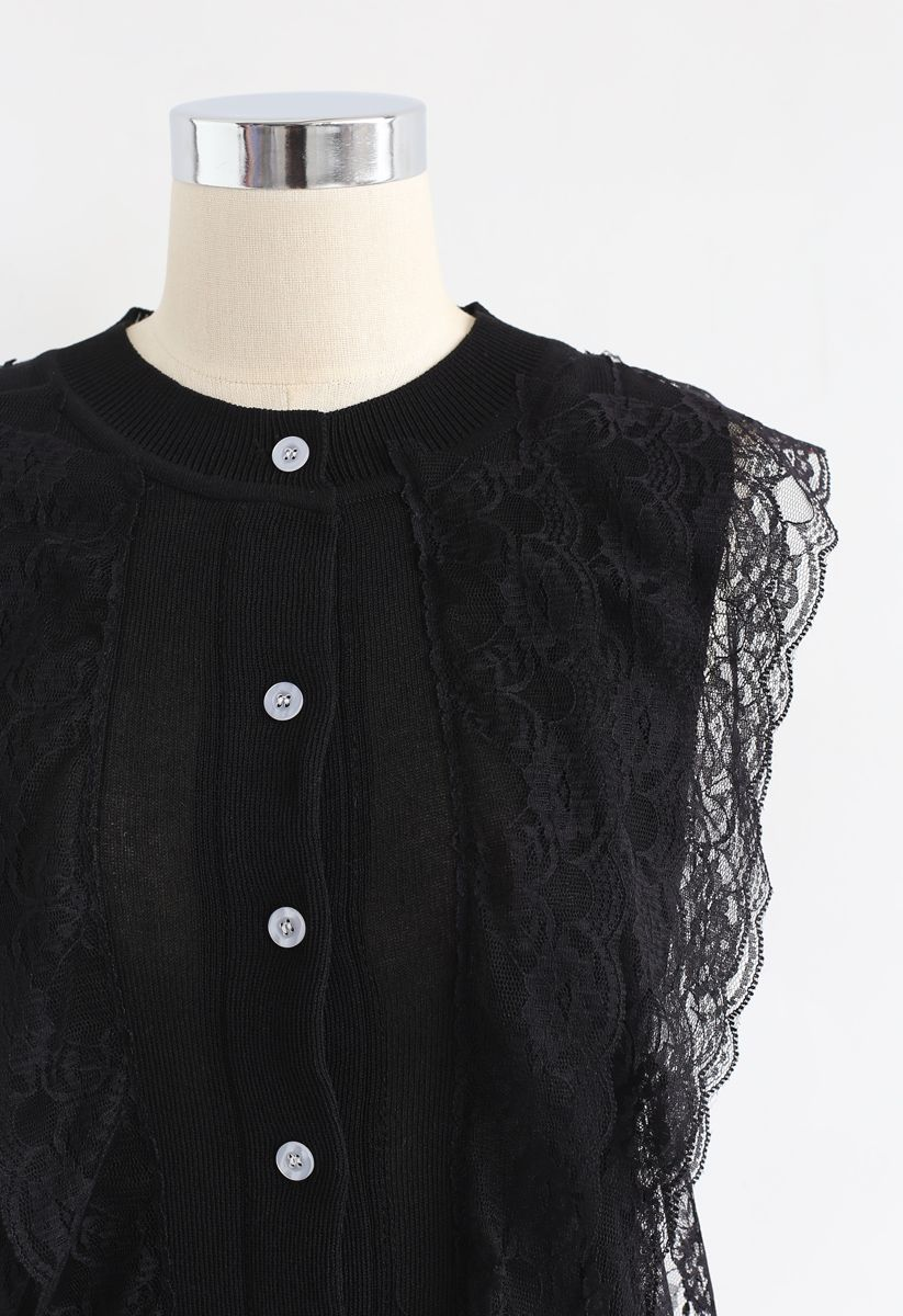 Lace Button Down Sleeveless Knit Top in Black