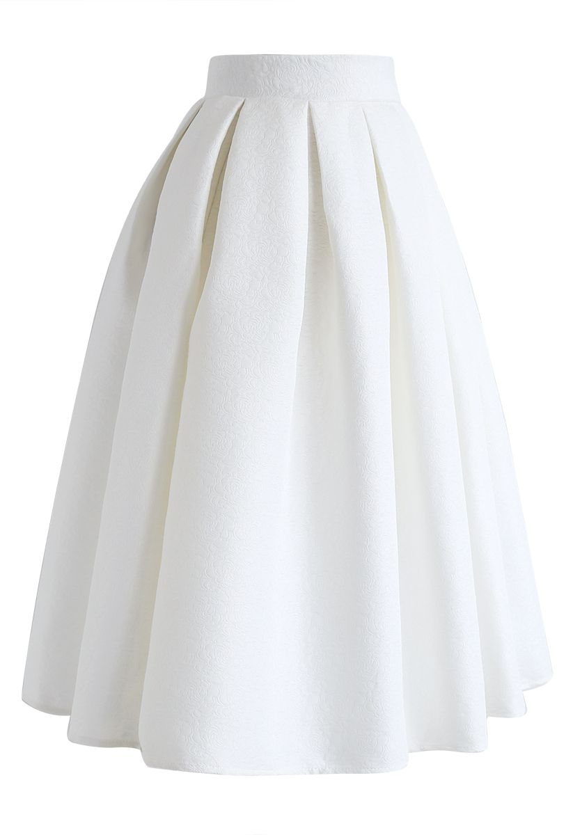Jacquard Pleated A-Line Midi Skirt in White