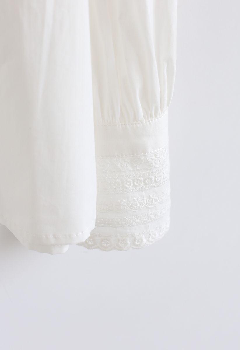 Button Down Crochet Trim Shirt in White
