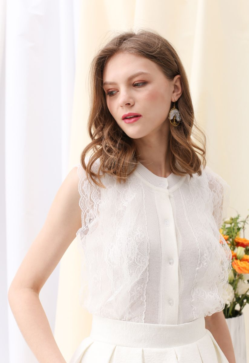 Lace Button Down Sleeveless Knit Top in White