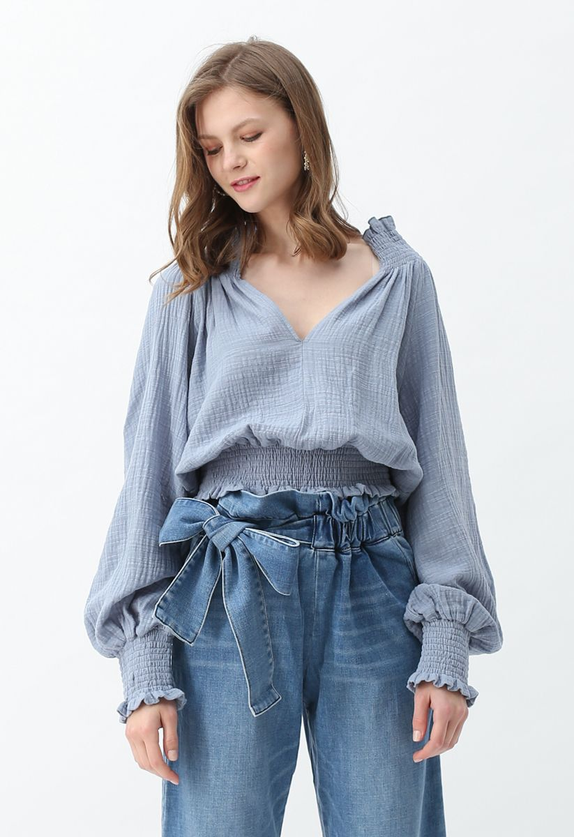 Deep V-Neck Shirred Top in Dusty Blue