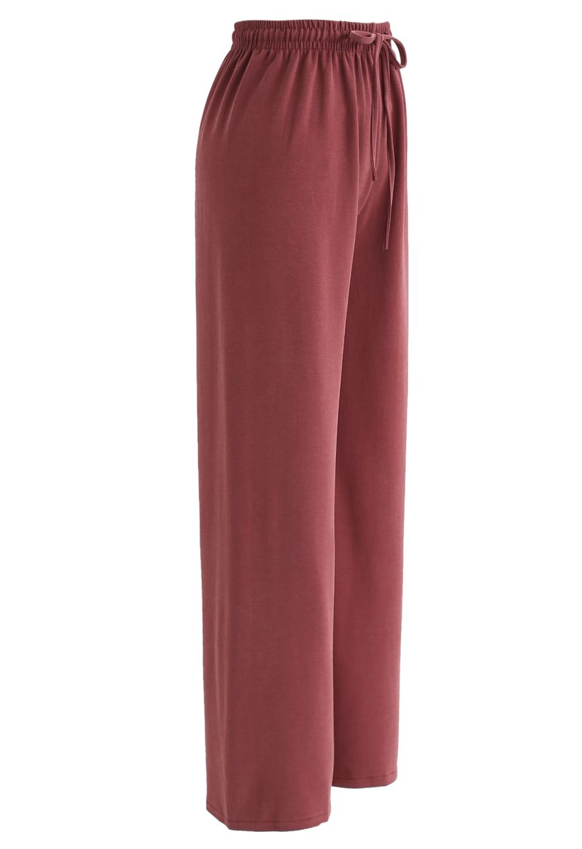Drawstring Wide-Leg Pants in Red