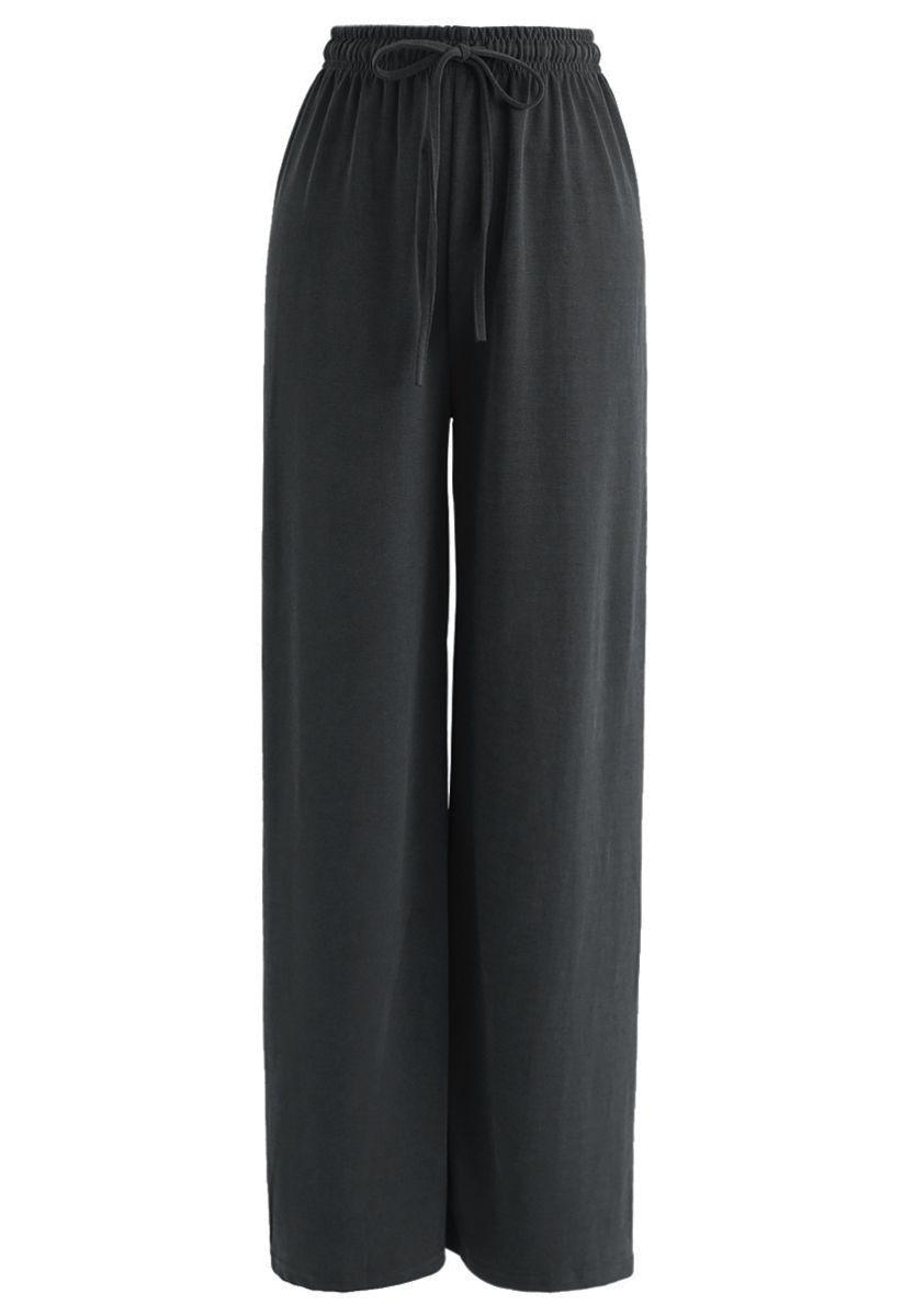 Drawstring Wide-Leg Pants in Smoke