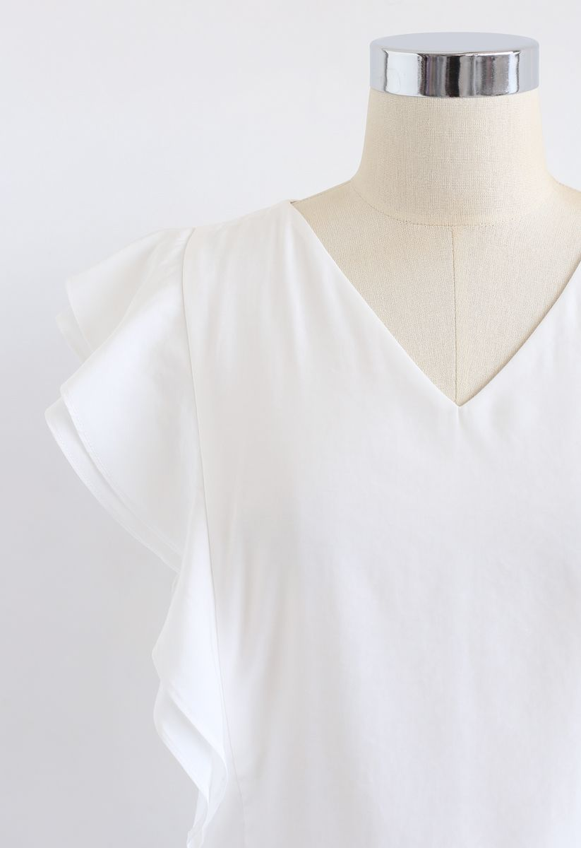 Bowknot Waist Sleeveless Ruffle Top in White