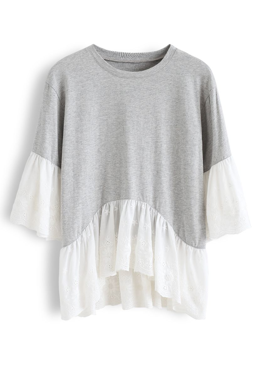 Sunflower Eyelet Embroidered Dolly Top in Grey