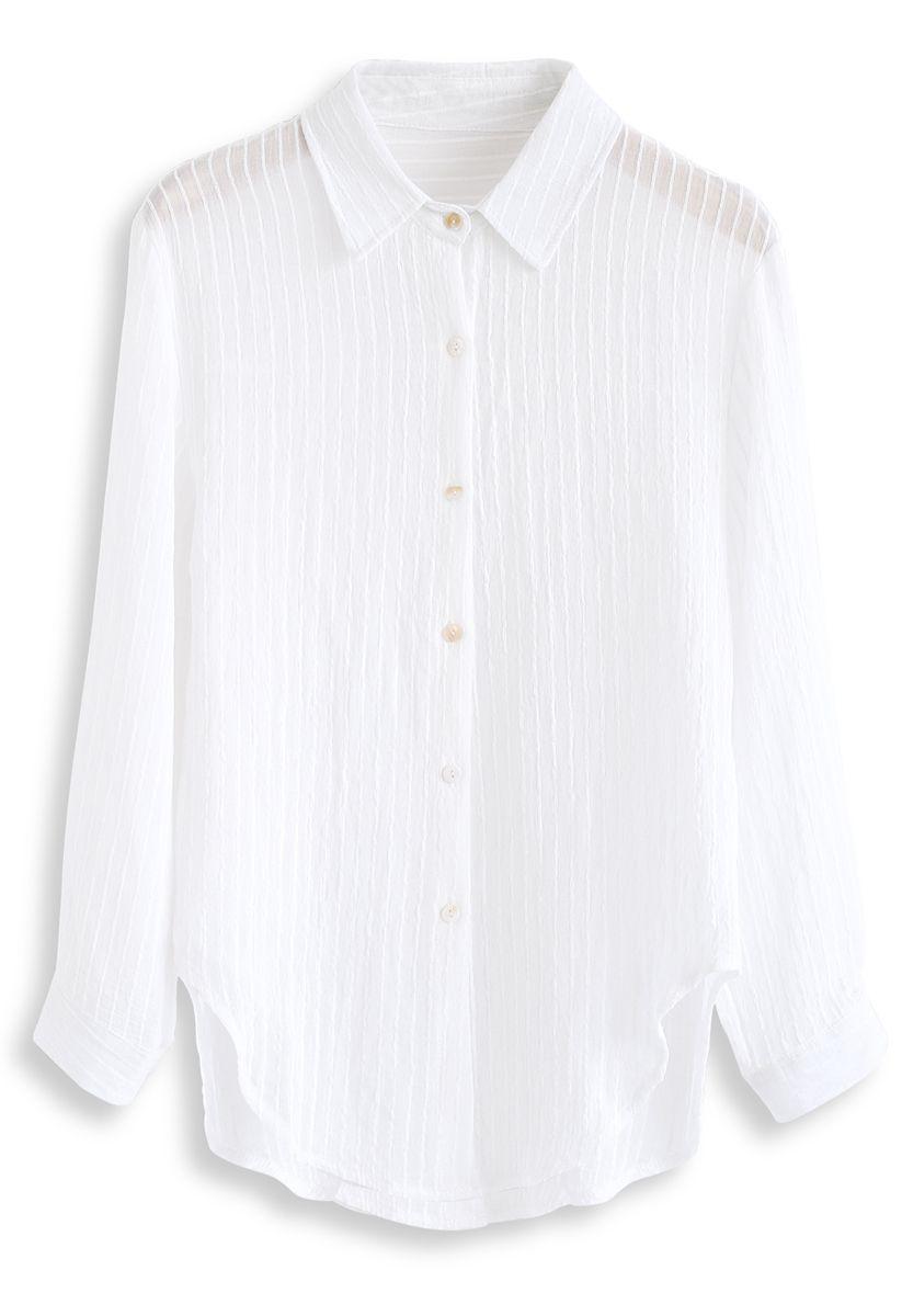 Stripe Texture Button Down Sleeves Shirt in White
