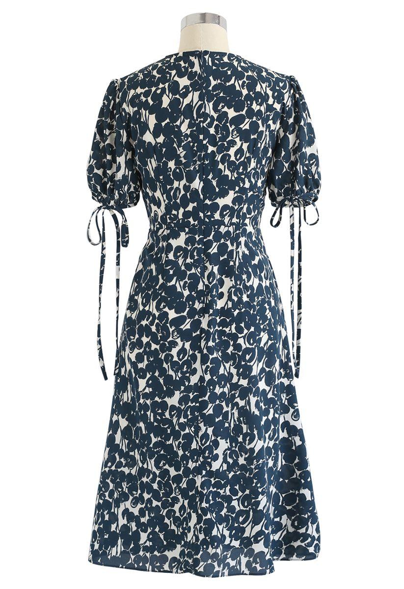 Dark Green Budding Flower Print Chiffon Dress