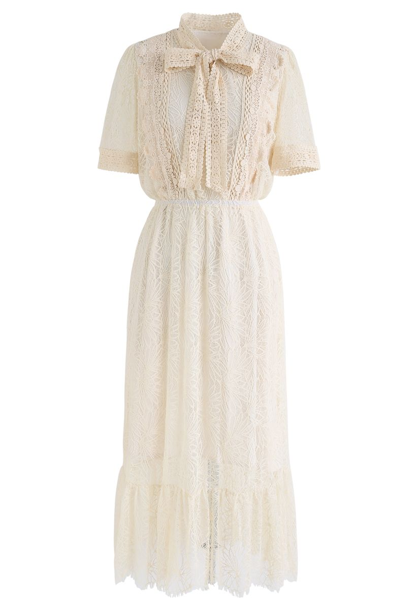 Bowknot Crochet Trim Lace Dress in Cream