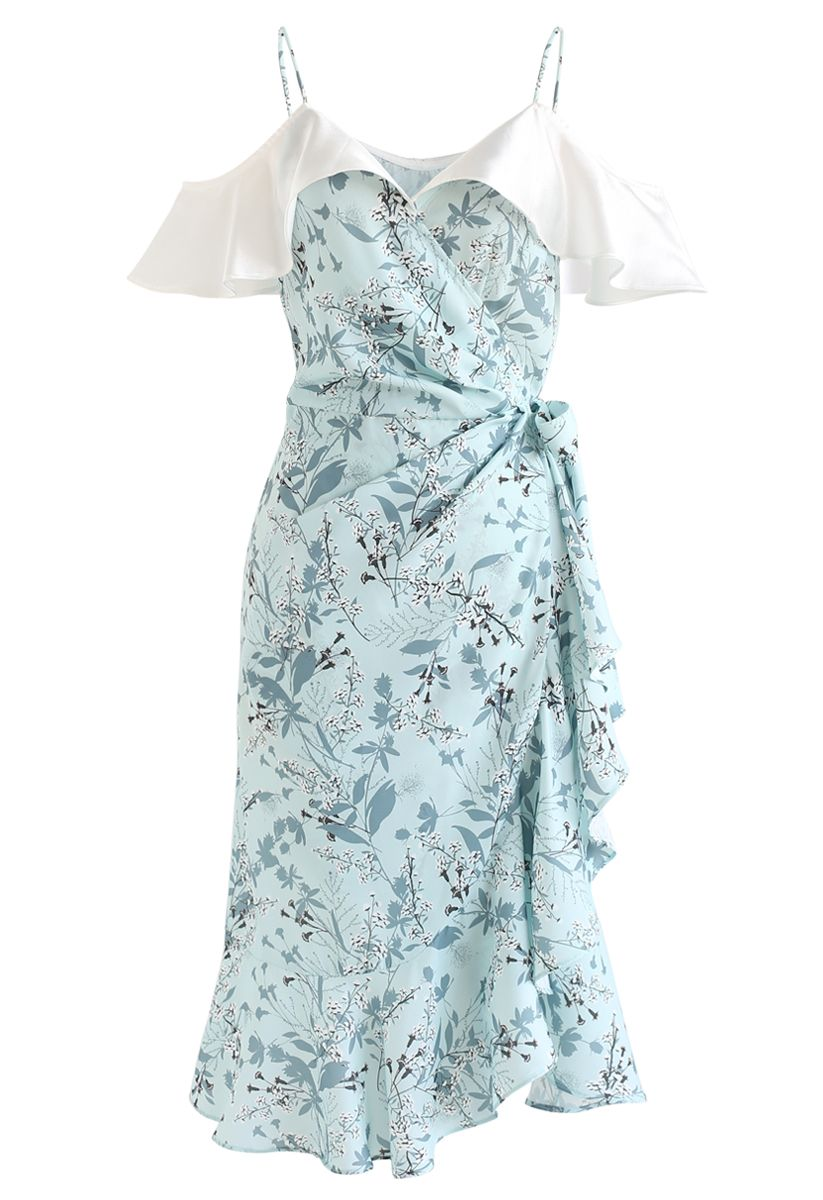 Greenery Floret Print Ruffle Wrapped Cami Dress