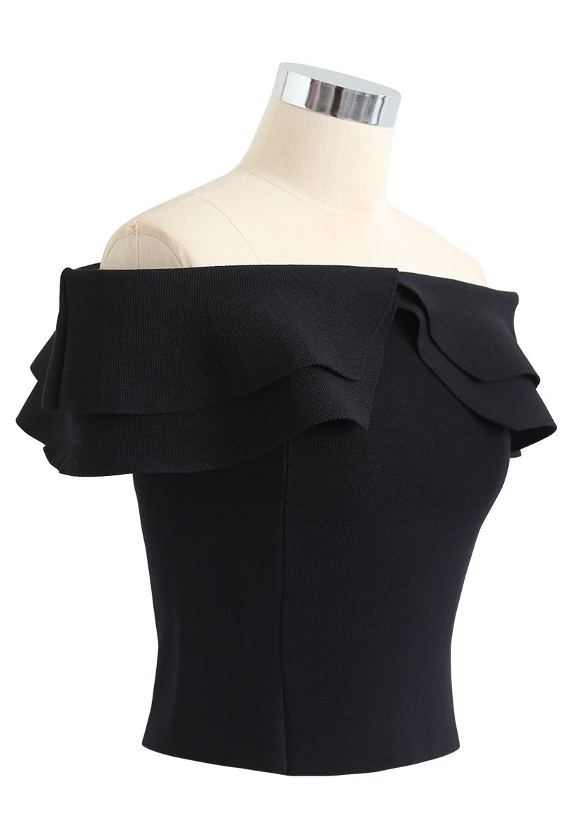 Off-Shoulder Tiered Cropped Knit Top in Black