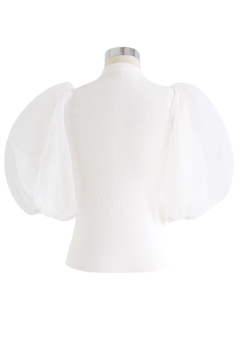Fitted Organza Bubble Sleeves Knit Top in White