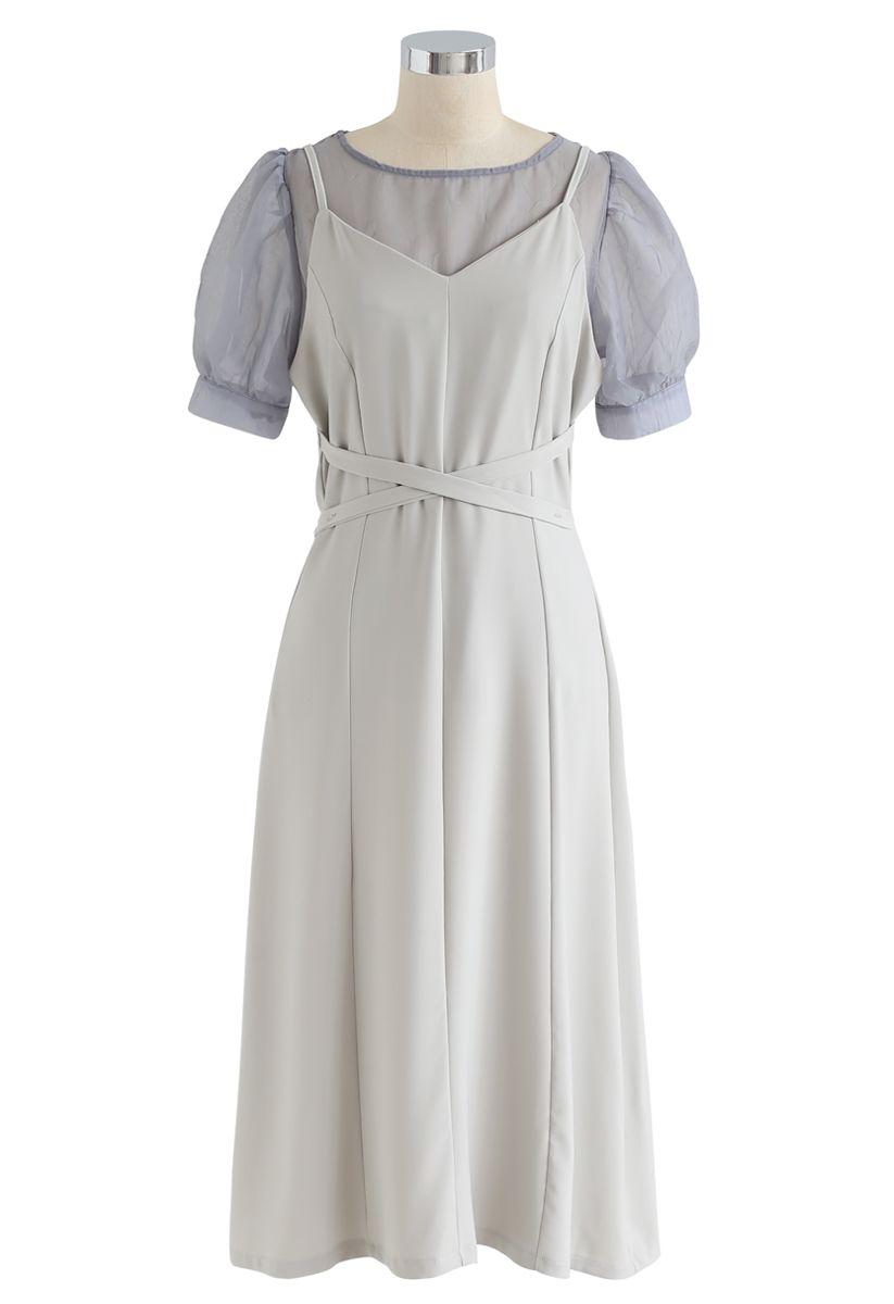 Split Shift Adjustable Cami Dress in Pea Green