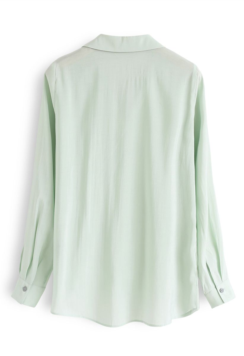 Hi-Lo Hem V-Neck Ruffle Front Shirt in Mint