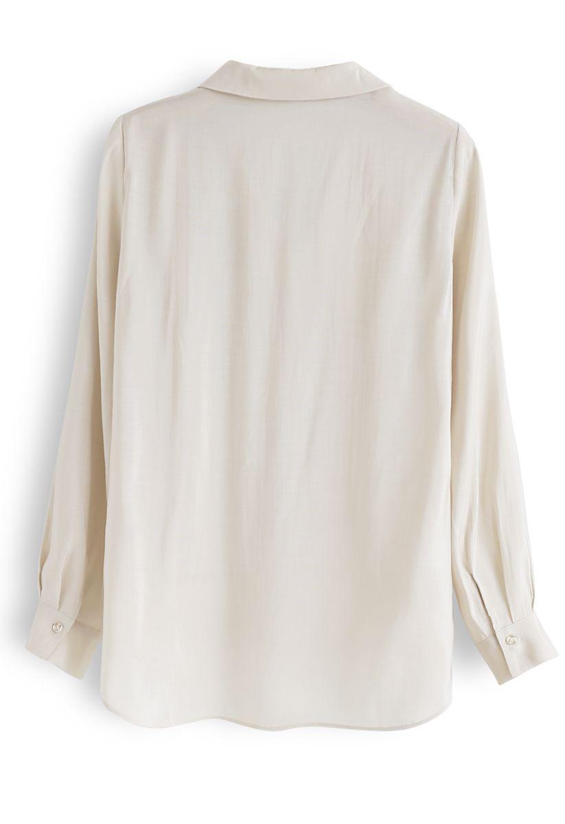 Hi-Lo Hem V-Neck Ruffle Front Shirt in Linen
