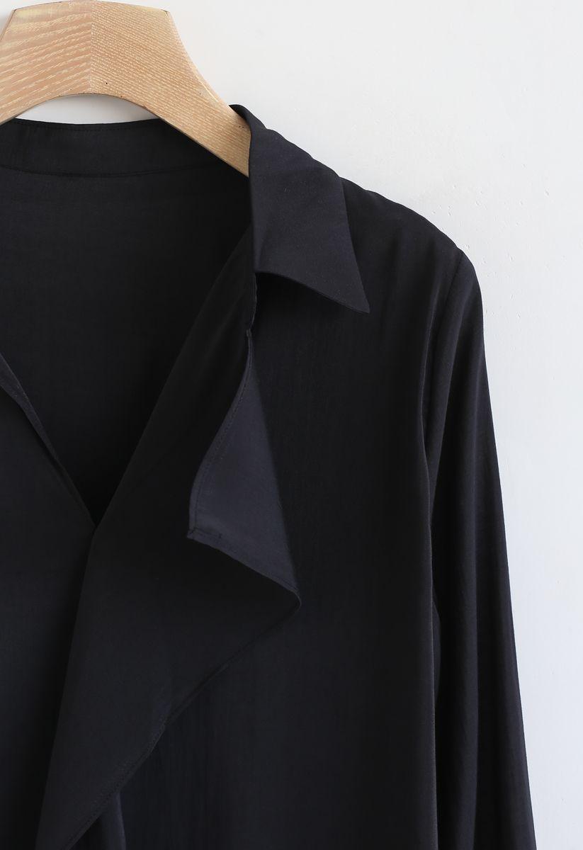 Hi-Lo Hem V-Neck Ruffle Front Shirt in Black