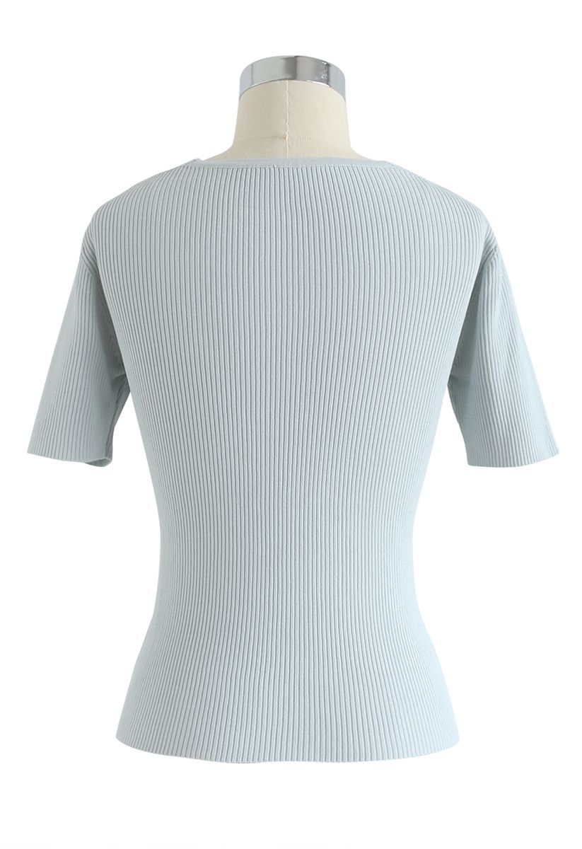 V-Neck Crisscross Ribbed Knit Top in Mint