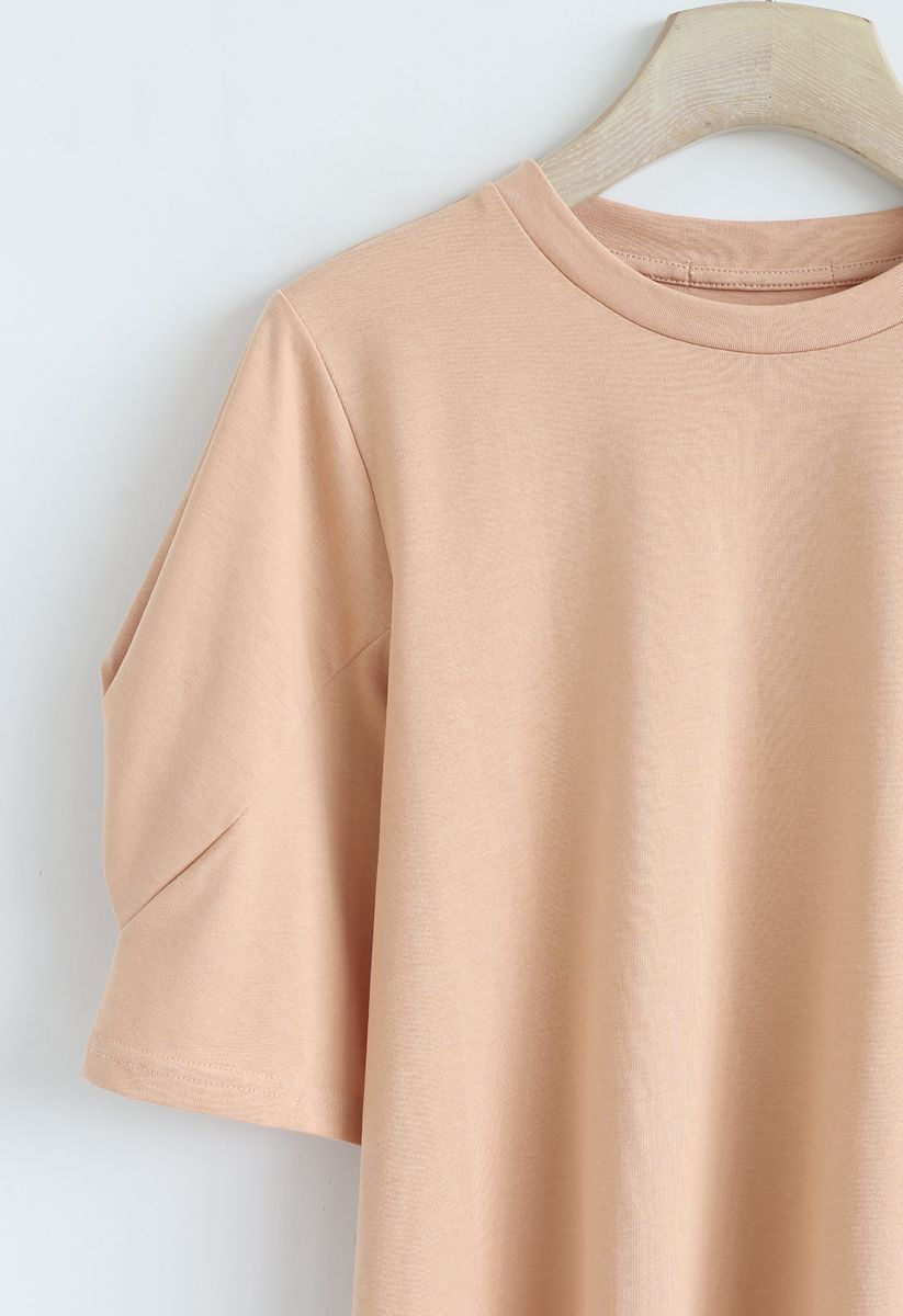 Puff Sleeves Pure Color Tee in Apricot