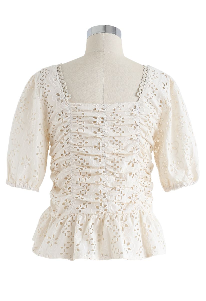 Square Neck Eyelet Buttoned Top in Cream