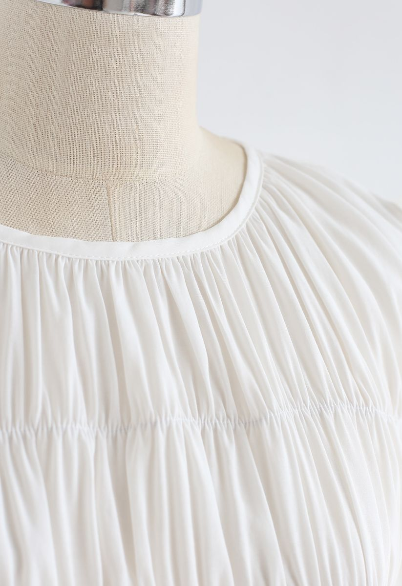 Ruffle Shirred Round Neck Top in White